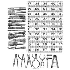 Tim Holtz Cling Rubber Stamp Set Art Tools Tape Measure Paintbrushes CMS163