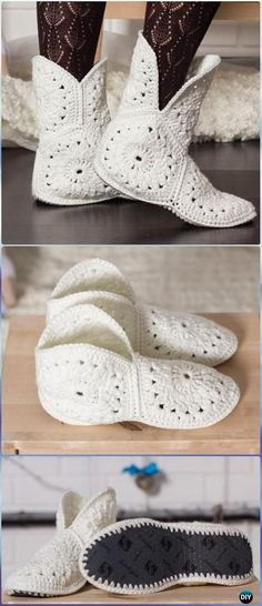 Crochet Hexagon Slippers Free Pattern- Crochet High Knee Crochet Slipper Boots Patterns