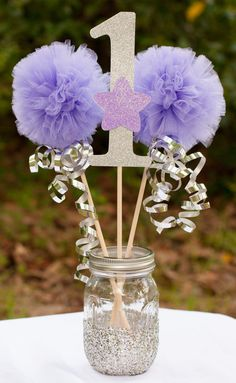 Twinkle Twinkle Little Star Party Lavender and Silver Centerpiece Table Decoration