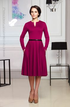 4345f67c77fb26 Short dress, Fuchsia dress, knitted dress, long sleeve dress, Midi dress,
