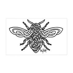 Shop Celtic Knotwork Bee - black lines Sticker (Oval) designed by LuckyFish Art-ifact Shop. Lots of different size and color combinations to choose from. Thistle Tattoo, Bee Tattoo, Tattoo Outline, Bee Art, Celtic Art, Life Tattoos, Tatoos, Art Tattoos, Line Sticker