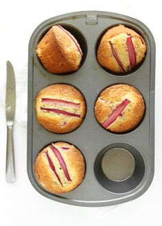 Brown Butter Rhubarb Muffins | The Kitchen Paper