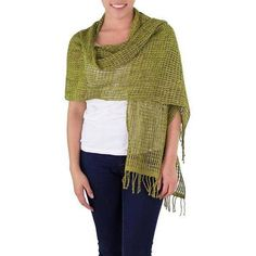 NOVICA Modern Maya Backstrap Loom Handwoven Green Cotton Shawl (€46) ❤ liked on Polyvore featuring accessories, scarves, clothing & accessories, green, shawls, green scarves, novica, shawl scarves, cotton scarves and cotton shawl