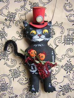 Halloween Black Cat  Ornament Jack O Lantern Pumpkin by wildrobyn