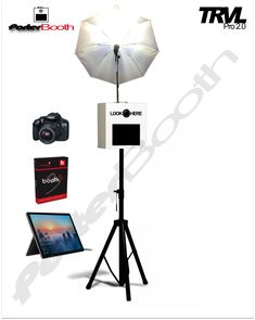 Portable Photo Booth Camera Kiosk Professional Touchscreen Photobooth for Parties and Events with Custom Brandable Surface DSLR Camera and Software Black