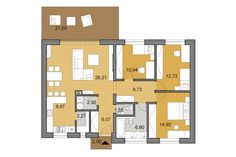 The house provides 3 bedrooms, ktichen and living room conveniently designed within the 100 area. Small House Floor Plans, House Plans, 1000 Sq Ft, Apartment Floor Plans, My House, House Design, Flooring, How To Plan, Architecture
