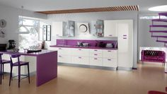 Buy Kitchen Furniture – 30 ideas for a modern and functional kitchen - design ideas Purple Kitchen Designs, Simple Kitchen Design, Kitchen Room Design, Beautiful Kitchen Designs, Contemporary Kitchen Design, Buy Kitchen, Kitchen Interior, Kitchen Ideas, Kitchen Cabinets