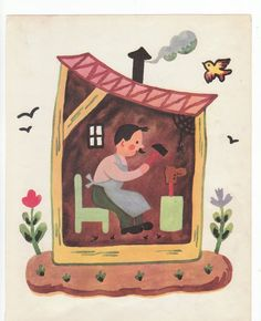 """vintage print of the shoemaker from Francoise Seignobosc's 1951 book """"Jeanne Marie Counts Her Sheep."""""""