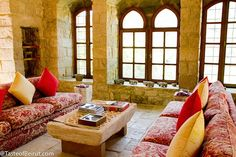 Lebanese home...love the colors, and look at those windows!