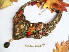 """Купить Колье """" Сердце осени """". - комбинированный, осень, листья, коричневый, медный, оливковый"""