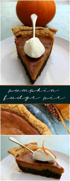 Pumpkin Fudge Layered Pie + Marie Callendar's Chicken Pot Pie = Pie Meal Perfection - decfood Holiday Desserts, Easy Desserts, Holiday Recipes, Delicious Desserts, Dessert Recipes, Halloween Desserts, Yummy Food, Pumpkin Fudge, Pumpkin Dessert