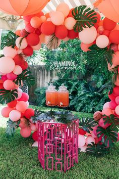 Beverage Bar from a Tropical Flamingo Pool Party on Kara's Party Ideas | KarasPartyIdeas.com (10)