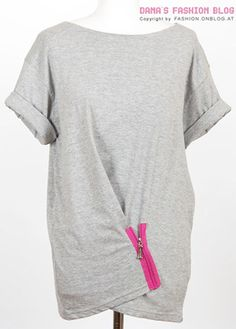 80s Inspired Zipper Tee  Rockin' a cool 80s vibe, I love this draped zipper tee made from a basic, oversized t-shirt.