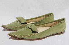 TOD'S Women's Jackie Moc Emerald Suede Pointed Toe Moccasin Flats US 9 / 39 NEW #Tods #MoccasinFlats