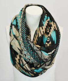 Teal Tribal Infinity Scarf by Leto Collection #zulily #zulilyfinds