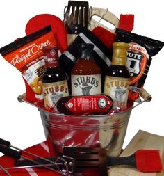 Delight Expressions™ Fire It Up BBQ Gift Basket - A Fathers Day Gift Basket Idea - A Birthday Gift for Him