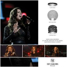 Nadia Malm wears a sparkling combination of Sif Jakobs Jewellery on stage at the Danish Eurovision Song Contest 2014. Find it at www.sifjakobs.com