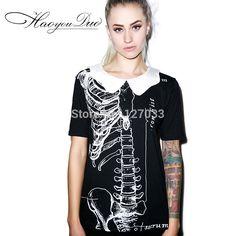 Été nouvelle manches courtes t   shirt femme poupée col couture créative crâne impression punk rock mode tops dans T-shirts de Accessoires et vêtements pour femmes sur AliExpress.com | Alibaba Group