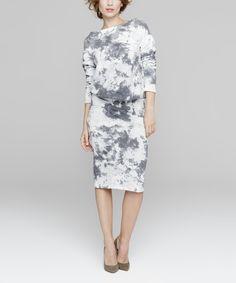 Look what I found on #zulily! Peperuna Gray & White Tie-Dye Blouson Dress by Peperuna #zulilyfinds