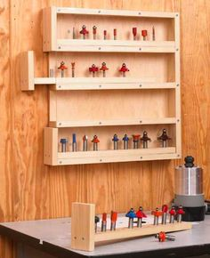 Easy Woodworking Projects Easy-Access Router-Bit Organizer Woodworking Plan from WOOD Magazine Woodworking Patterns, Easy Woodworking Projects, Popular Woodworking, Woodworking Furniture, Woodworking Shop, Woodworking Plans, Woodworking Quotes, Woodworking Organization, Furniture Plans