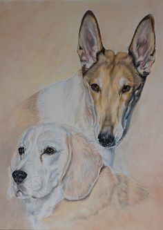*Jolie & Lucky * Auftragsarbeit - commissioned work - Beagle and Smooth Collie / Soft Pastel