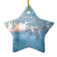 Pretty Winter Frosted Glass Ceramic Ornament - home gifts ideas decor special unique custom individual customized individualized
