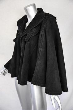 Jean Claude Jitrois Black Suede Leather Swing Jacket Cape Ruffle Hem Coat s M L | eBay