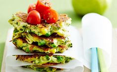 Zucchini and cheese fritters recipe - By Australian Women& Weekly, These delicious zucchini and cheese fritters are perfect for breakfast, lunch or dinner. Serve them with your favourite dip for a tasty lunch-box treat. Vegetable Recipes, Vegetarian Recipes, Cooking Recipes, Lunch Recipes, Savoury Recipes, Vegetarian Cooking, Vegetable Dishes, Cafe Recipes, Savoury Tarts