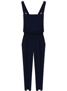 Navy Strap Split Backless Jumpsuits - Sheinside.com