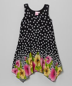 This Black Handkerchief Floral Dress - Girls by Lipstik Girls is perfect! #zulilyfinds