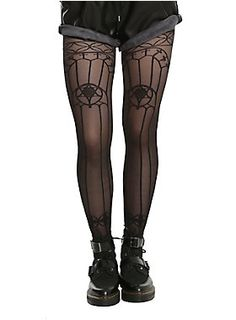 These tights tho // blackheart-black-sheer-stained-glass-design-tights