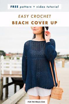 Pull Crochet, Mode Crochet, Beach Crochet, Crochet Cover Up, Crochet Cardigan Pattern, Easy Crochet Patterns, Crochet Shawl Free, Hoodie Pattern, All Free Crochet