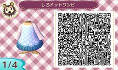 Lacy blue dress QR Codes Animal Crossing New Leaf
