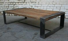 Table Basse R'  TB006  : Giani Desmet Meubles Indus Bois métal et cuir