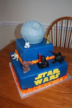 """Nicholas' # 2 choice for a star wars cake w/o the """"planet"""" on top.  He likes the flames"""