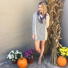 NEW ARRIVALS! ✨ This striped black & white dress is the perfect staple for this fall!  | Striped dress $35 | Cardigan $35.95 | Scarf $20 | #under40 #shopjuneandbeyond #fallfashion #instastyle #fall #newarrivals