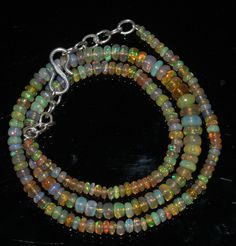 """43Ctw 1Necklace 3to6mm16"""" Beads Natural Genuine Ethiopian Welo Fire Opal 97496"""