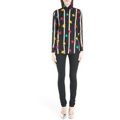 Women's Saint Laurent Star Spray Paint Print Crepe De Chine Blouse ($714) ❤ liked on Polyvore featuring tops, blouses, noir multi, white blouse, crepe de chine blouse, long sleeve blouse, star print top and stripe top