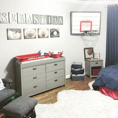 """We're celebrating a weekend full of hoops with this vintage basketball themed nursery!  Is anyone's bracket still going strong?  Tour the full room via…"""