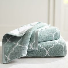 Green Moorish Tile Bath Towel - Mineral - Cotton
