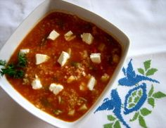 Bulgur Soup with Green Beans and Feta Cheese
