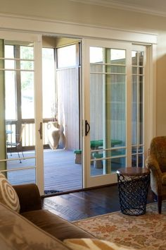 Considering sliding doors because I do not have the floor space in the breakfast room, although I could have them open out which still encroachs on any liveable space on the patio. Sliding Door Design, Sliding Patio Doors, Sliding Barn Door Hardware, Sliding Glass Doors, Door Hinges, Porch Doors, Windows And Doors, Entry Doors, Style At Home