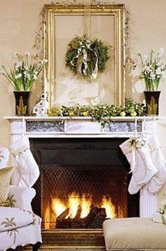 Christmas Fireplace Mantel Christmas Fireplace, Christmas Mantels, Noel Christmas, Fireplace Mantels, White Christmas, Christmas Decorations, Fireplaces, Christmas Arrangements, Christmas Ideas