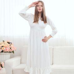 Free Shipping ,High Quality 100% Cotton Nightgown Princess Nightdress Royal Pijama Ladies Sleepwear Long White Women Nightwear