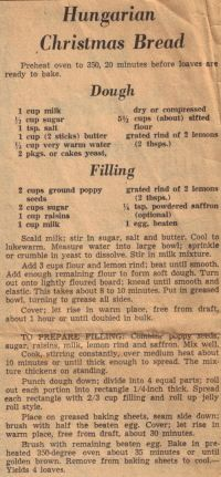 Hungarian Christmas Bread - Vintage Recipe Clipping