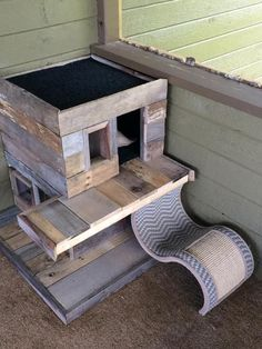 Cat house plans for the do-it-yourself crowd are available from a few sources. If you want to have your cat house built, or build it yourself, you can start with these ideas and instructions. Wooden Cat House, Cat House Diy, Outdoor Cat Shelter, Outdoor Cats, Outdoor Sheds, Cat Shelters For Winter, Dog House Heater, Cat House Plans, Cat Castle