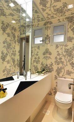 decoraçao com Papel de parede para banheiro