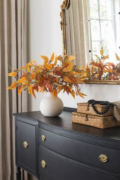 Create a stunning display of fall toned leaves, without the fuss! These artificial seeded eucalyptus leaves in rich terracotta are the perfect fall addition to any space. Shop this look at Afloral.com.