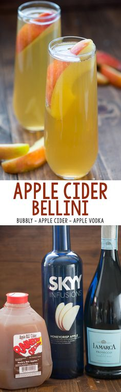 Cider Bellini - only 3 easy ingredients to the perfect fall cocktail! -Apple Cider Bellini - only 3 easy ingredients to the perfect fall cocktail! Fall Drinks, Christmas Cocktails, Holiday Drinks, Holiday Cocktails, Party Drinks, Cocktail Drinks, Cocktail Recipes, Holiday Recipes, Alcoholic Drinks