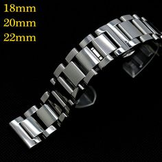 18/20/22mm Solid Link Wrist Band For Wish Watch Bracelet Push Button Men Stainless Steel Butterfly Buckle Strap GD0145